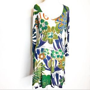 Desigual tropical floral printed tunic dress